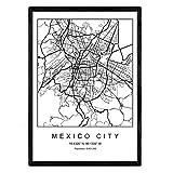 Nacnic Drucken Stadtplan Mexiko-Stadt skandinavischen Stil