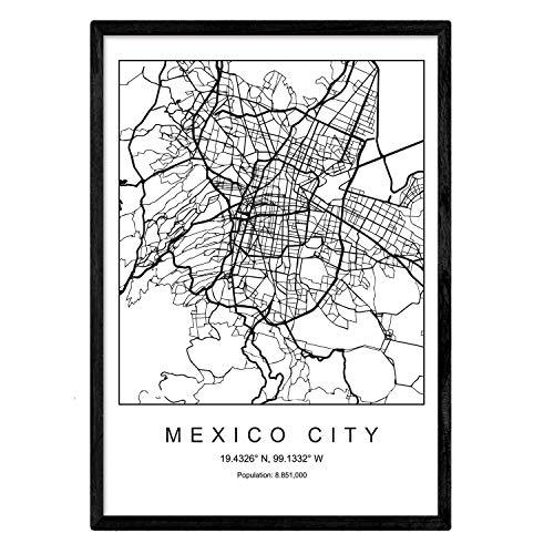Nacnic Lámina Mapa de la Ciudad Mexico City Estilo nordico en Blanco y Negro. Poster tamaño A3 Sin Marco Impreso Papel 250 gr. Cuadros, láminas y Posters para Salon y Dormitorio