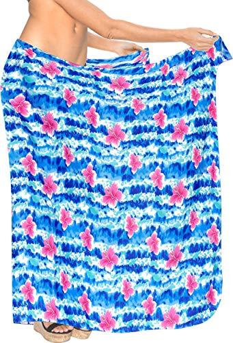 LA LEELA la Cubierta del Traje de baño de Las Mujeres Pareo Playa Envoltura de Verano Azul_Z113 78''X42