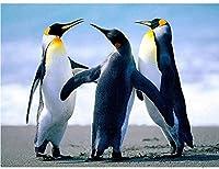 DIY 5Dダイヤモンドペインティングペンギンラージサイズフルキットダイヤモンドペインティング3ペンギン リビングルームキャンバスダイヤモンド型の壁アート装飾がいっぱい