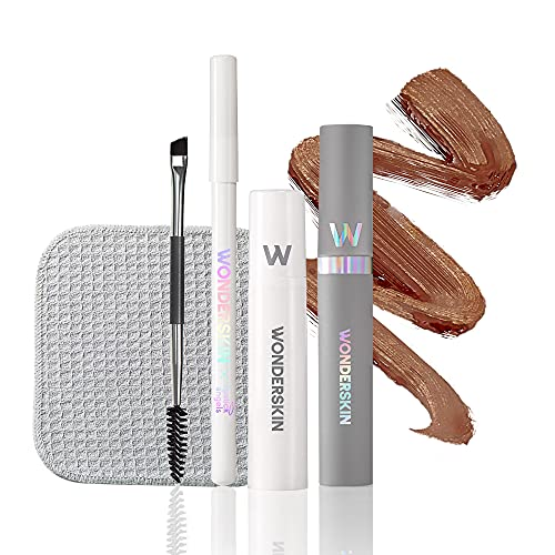 Wonderskin Wonder Blading Eyebrow Kit in Includes a Long-Lasting, Waterproof Brow Masque and Touch-Up Pomade Pencil. Alcohol-Free Microblading Alternative with Natural-Looking Results. Brunette