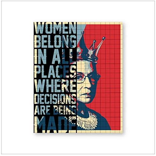 wzgsffs Ruth Bader Ginsburg Wandkunst Leinwand Poster Drucke Frauen gehören zu Allen Orten Entscheidungen getroffen Malerei Bild Wohnkultur -50x70cm Nein Gerahmt
