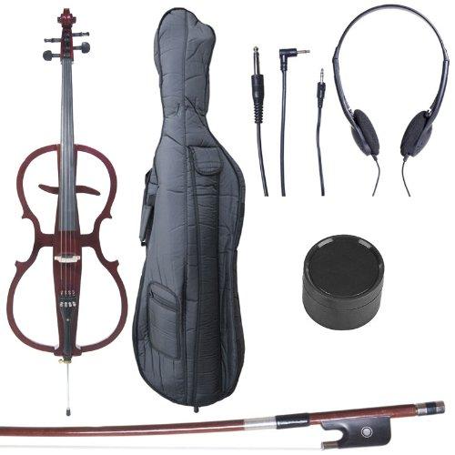 Cecilio CECO-1DW Ebony Electric Silent Metallic Mahagony Cello in Style 1, Size 4/4 (Full Size)