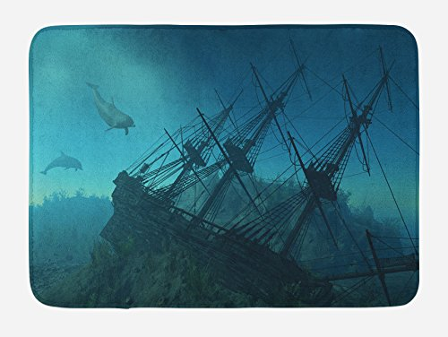 Ambesonne Nautical Bath Mat, Dolphins Ruined Wreckage Underwater Sunken Ship Mystery Treasure, Plush Bathroom Decor Mat with Non Slip Backing, 29.5' X 17.5', Blue Teal