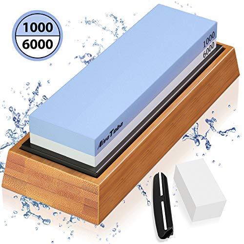 AivaToba Abziehsteine Schleifstein Set 1000/6000 Grit Wetzstein Messer Diamant Messerschärfer mit Bambusbasis, rutschfestem Silikonhalter, Winkelführung, Abflachungsstein