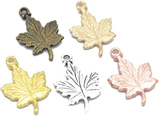 100pcs Mixed Color DIY Jewelry Accessories Vintage Alloy Pendant Maple Leaf Alloy Pendant (Mixed Color)