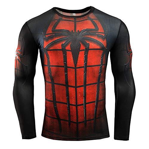 HOOLAZA Spiderman Tshirt Compression Rouge Noir T-Shirt Chemises Sport Hommes Manches Longues