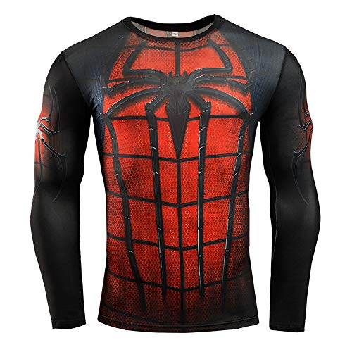 HOOLAZA Spiderman Camiseta Rojo Negro Camiseta de Compresión Camisas Deportivas Hombre Manga Larg