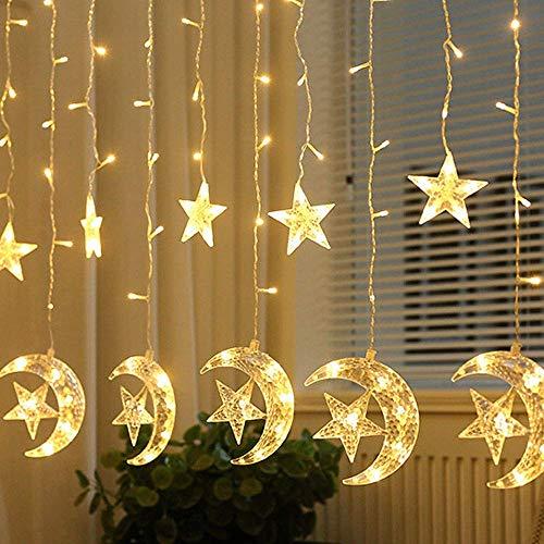 Eid Moon Curtain Lights with Star String Light,138 LED Curtain Lights,8 Modes Waterproof String Lights for Window,Fireplace, Garden,Patio Eid Decoration