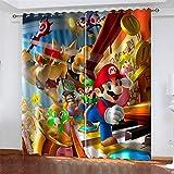 LLWERSJ Cortinas Opacas Super Mario Cortinas Opacas De Térmica Aislante Adecuado Cortina Blackout con Ojales Dormitorio habitación Infantil 2Paneles 2x75x166cm(An x Al)