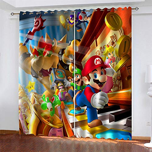 3D Impresión Cortinas Opacas Super Mario Bros Cortinas Opacos De Térmica Aislante Aislamiento Blackout con Ojales Sala Dormitorio Infantil Cortina 2pcs x 75 x 166cm(LxA)