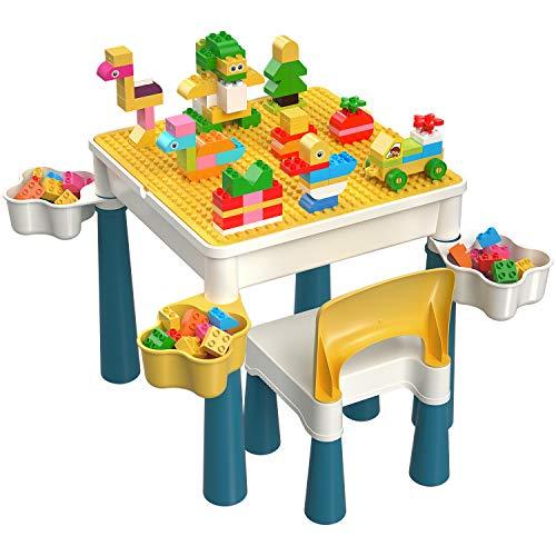 burgkidz Tavolo e Sedia per Bambini, Tavolo Multi-attività con 1 Sedia e 130 Pezzi di Grandi Dimensioni, Giocattoli da Costruzione Compatibili con Mattoni Creativi per Ragazzi e Ragazze