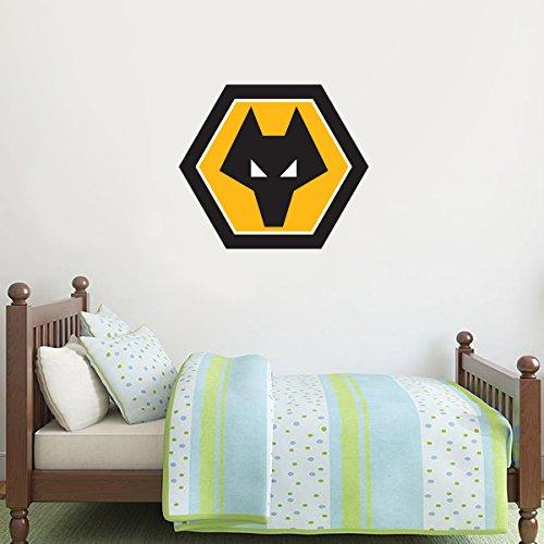 Beautiful Game Wolverhampton Wanderers Football Club Crest Wall Art Sticker Mural & x10 Wolves Decals Set (60cm)