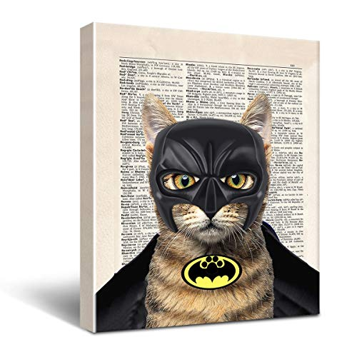 Super Hero Cat Canvas Wall Decor, Gift for Super Hero Fan Wall Decor Framed Wall Art Funny Cat Canvas Prints Wall Decorations 8x10
