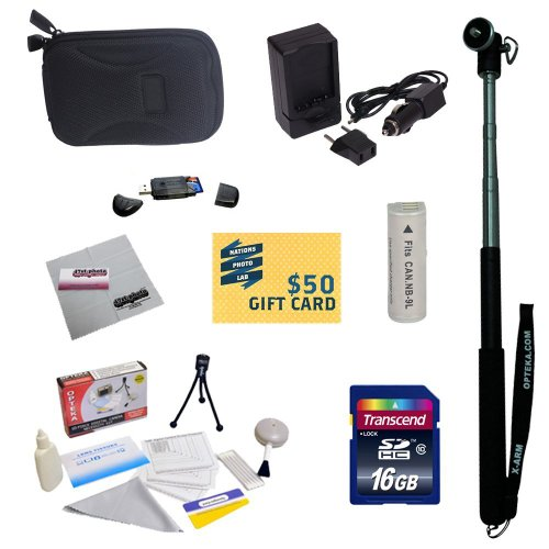47th Street Photo Best Value Point & Shoot Essentials Accessory Kit for Canon PowerShot Elph 530, Elph 520, Powershot N Digital Camera Includes Extended Replacement NB-9L Battery + AC/DC Travel Charger + Self Portrait Monopod + Mini tripod + 16GB Transcend High Speed Error Free Micro SD Memory Card + USB 2.0 Card Reader + Slim Carrying Case + Screen Protectors Photo Print ! Deluxe Cleaning Kit + 47stphoto Microfiber Cleaning Cloth