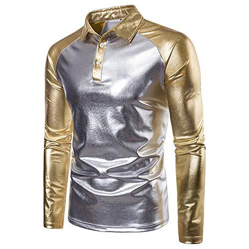 Yzibei Het shirt van mannen mannen contrasterende kleur metallic Shiny Polo tops revers hals beschermende hemd volwassenen ComfortSoft lange mouwen knopen hemd Gentleman casual gesneden hemd