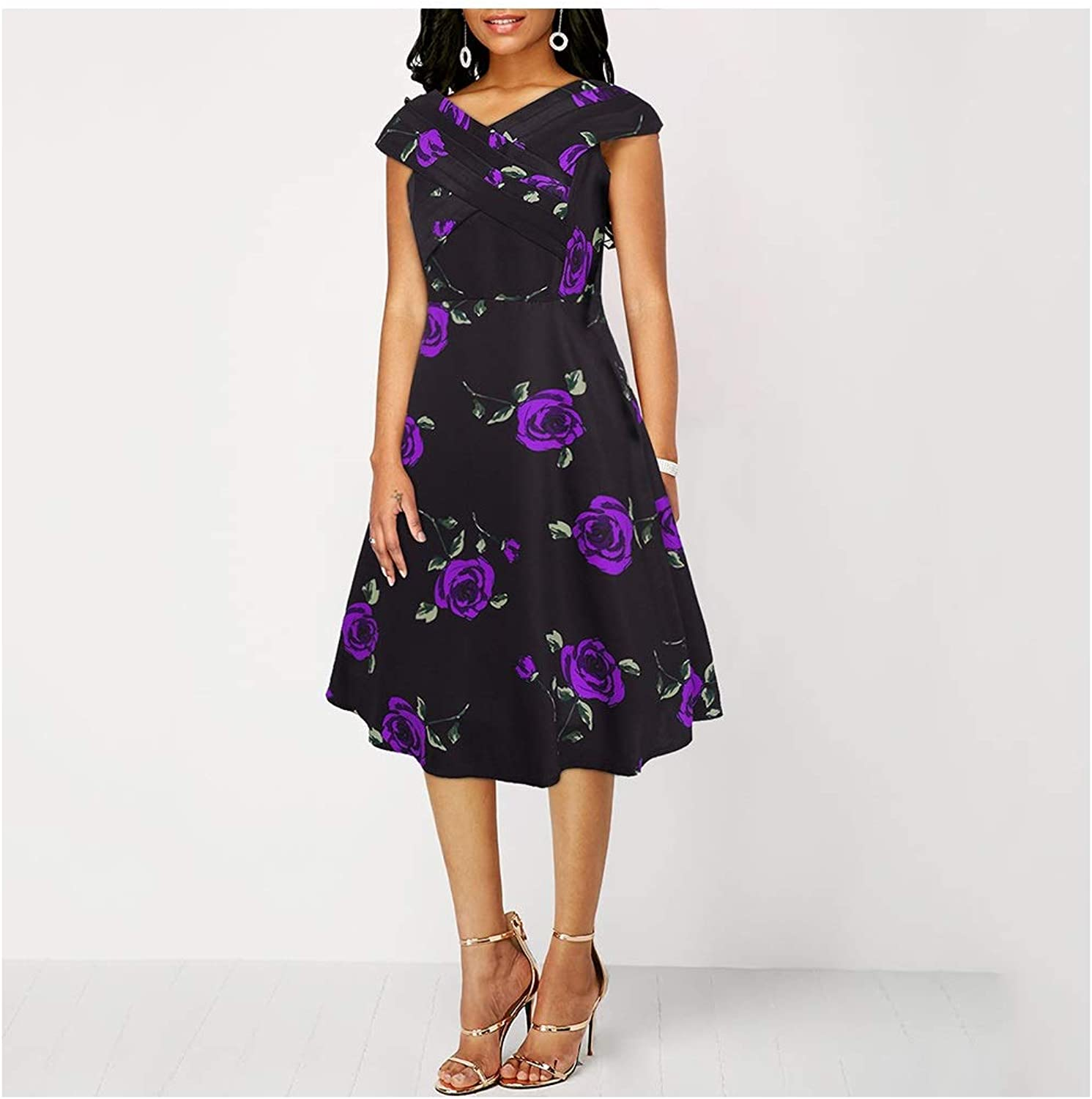 CARRY Dress, Europe and America Comfortable Soft Lady Cocktail Dress Print Vintage Dress Hepburn Wind Skirt (color   color3, Size   M)