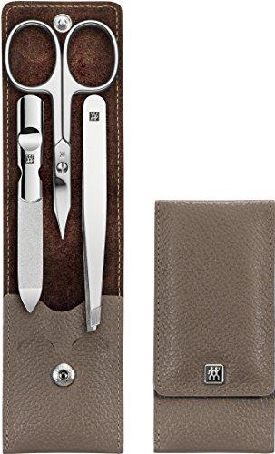 Zwilling Classic Inox 97679-009-0 - Estuche para manicura y pedicura, 3 piezas, cuidado de las manos y los pies, pinzas y lima de uñas, piel de vacuno, para hombre y mujer, botón de presión