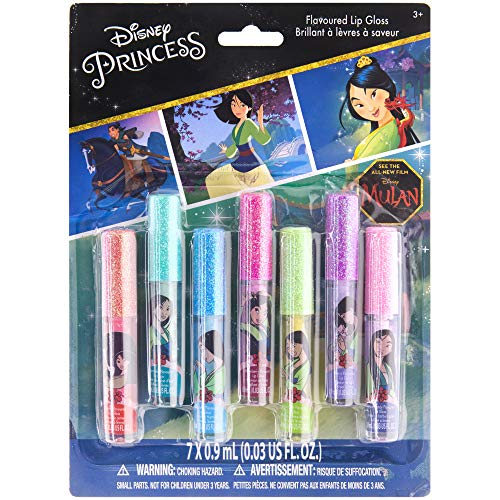 Townley Girl Disney Princess Mulan Super Sparkly 7 Pack Party Favor Lip Gloss, 7 CT
