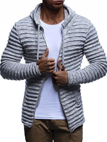 Leif Nelson Herren Hoodie Strickjacke Kapuzenpullover Jacke Hoody Sweatjacke Zipper Sweatshirt Longsleeve LN20724; Größe L, Grau