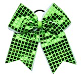 "New""DISCO SQUARES Lime Green"" Cheer Bow Pony Tail 3"" Ribbon Girls Hair Bows Cheerleading Dance Practice Football Games Competition Birthday"