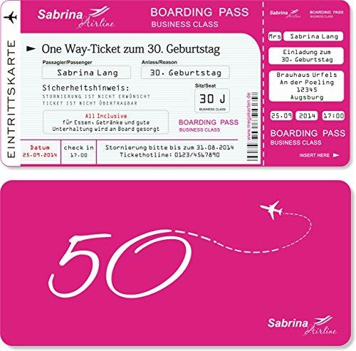 Einladungskarten zum Geburtstag als Flugticket mit Abriss-Coupon Pink 40 Stück