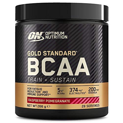 Optimum Nutrition Gold Standard BCAA Pulver, Aminosäuren Komplex Hochdosiert mit Vitamin C, Wellmune, Magnesium und Elektrolyten, BCAAs Pulver von ON, Raspberry und Pomegranate, 28 Portionen, 266g