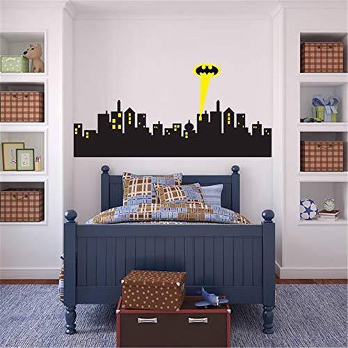 Wandtattoo Schlafzimmer Gotham City Skyline Batman Aufkleber für Kinderzimmer Kinderzimmer