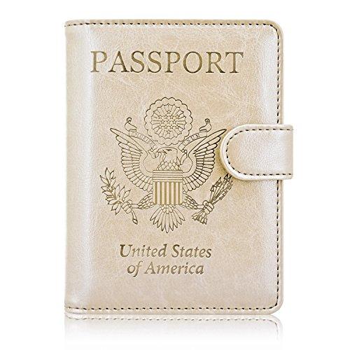 ACdream Reisepasshülle, Lederetui für Reisen, RFID-blockierender Dokumenten-Organizer, mit Fächern für Kreditkarten, Bordkarte, für Damen und Herren, Gold