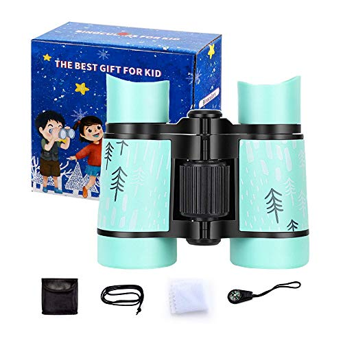 Binoculars for Kids-Best Gifts, Binoculars for Boys and Girls Age 3-8 Years-4X30 Resolution Real Optics Toy Binoculars-Compact and Portable-Shockproof Kids Telescope for Hiking, Bird Watching(Green)