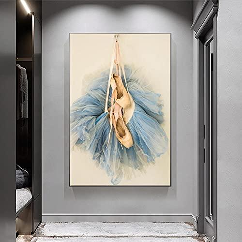 MKWDBBNM Belleza Moderna Zapatos de Ballet Arte de la Pared Pintura en Lienzo Faldas de Bailarina Póster e Impresiones Imágenes para la decoración del hogar de la Sala de Estar   60x90cm Sin Marco