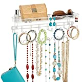 mDesign Hanging Jewelry Storage with 19 Hooks - Pretty Steel Wall Mounted Jewelry Organiser - Ideal Jewelry Storage with Hooks and a Basket - White/Steel