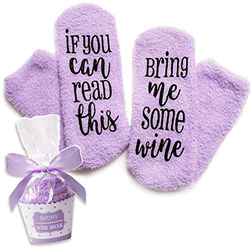 "Calzini Viola Scritta sul Vino ""If You Can Read This Bring Me Some Wine"" con Confezione Regalo in Formato Cupcake della Smith"