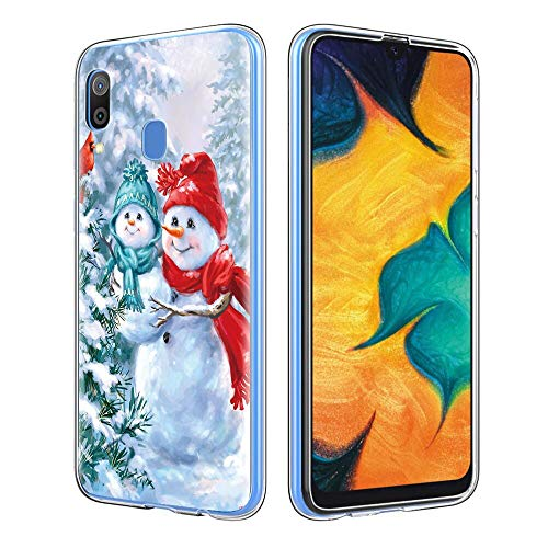 Eouine Samsung Galaxy A20 / A30 Case, Phone Case Transparent Clear with Pattern Elk Snowflake Shockproof Soft TPU Silicone Cover Skin for Samsung Galaxy A20 / A30 (Snowman)
