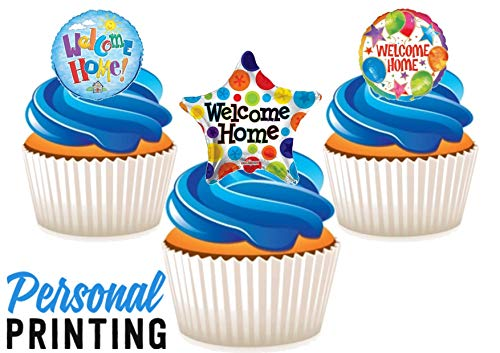 PP - Welkom Thuis Ballon Trio Mix 12 Eetbare Stand up Premium Wafer Card Cake Toppers Decoraties