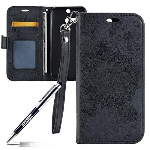 Kompatibel mit HTC ONE M8 Hülle,HTC ONE M8 Tasche,JAWSEU Lederhülle für HTC ONE M8 Handyhülle Wallet Case Flip Hülle Brieftasche,Mandala Blumen Muster PU Leder Tasche Flip Case Schwarz