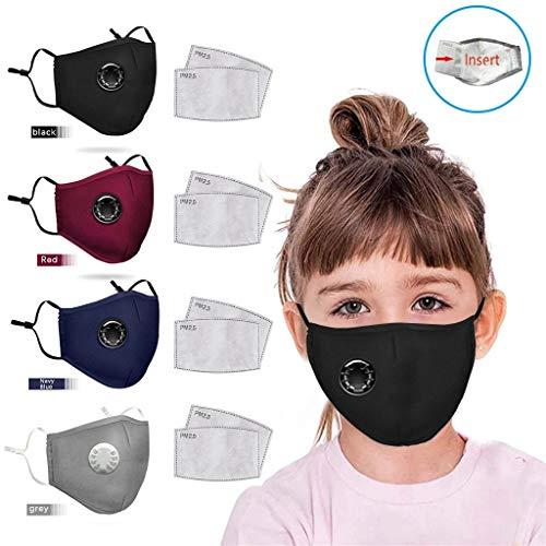 7Lucky 4 Stück Mundschutz Wiederverwendbar Waschbar+ 8 Filter, Gesichtsschutz Kopftuch Ventil Baumwolle für Kinder Outdoor-Aktivitäten