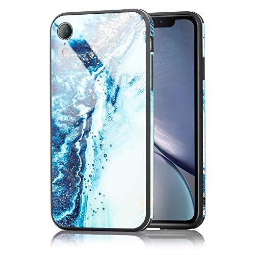 Preisvergleich Produktbild NALIA Hartglas Hülle kompatibel mit iPhone XR,  Marmor Design Hard-Case aus 9H Tempered Glass & Silikon Bumper,  Kratzfeste Motiv Handyhülle Phone Cover Schutzhülle Handy-Tasche,  Farbe:Blau Türkis