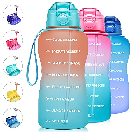 Giotto Large 1 Gallon/128oz Motivational Water Bottle with Time Marker & Straw,Leakproof Tritan BPA Free Water Jug,Ensure You Drink Enough Water Daily for Fitness,Gym and Outdoor-Orange/Green