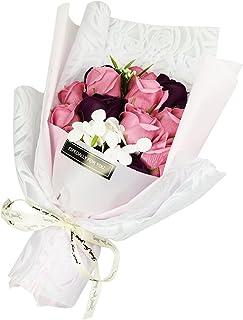 ソープフラワー ギフト用 お祝い 記念日 母の日 花束 造花 優しい香り 薔薇 紫陽花 (ピーチ)