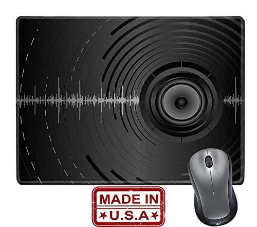 Not Applicable Alfombrilla/Alfombrilla de Goma Natural con Bordes cosidos Fondo de música Abstracta de vectores con Altavoces de Audio