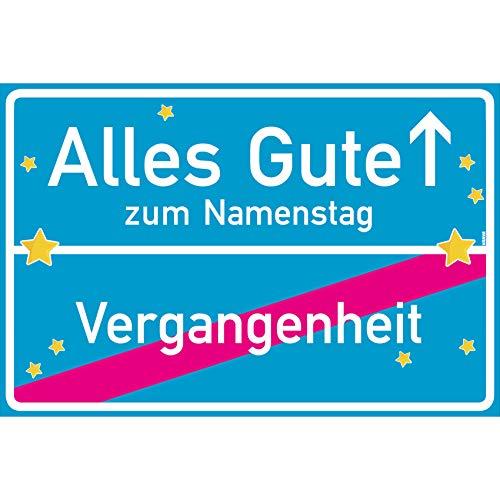 vanva Alles Gute zum Namenstag Ortsschild Namenstag Geschenk Schild 30x20 cm Namenstagsgeschenk Geschenk Namenstag Türkis