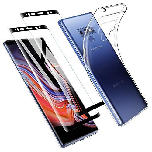 Zsmzzd Funda para Samsung Galaxy Note 9, 2 Pcs Protector de Pantalla Cristal Templado, Antigolpes Transparente Silicona TPU Suave Carcasa + Vidrio Templado Screen Protector Samsung Galaxy Note 9