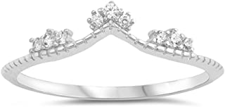 Clear CZ Chevron Tiara Midi Knuckle Dainty Ring Sterling Silver Band Sizes 4-10