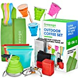 Collapsible Outdoors Backpacking Camping Cookware Set - BPA Free Collapsible Pot and Collapsible Cup - Camping Cooking Stove and Camping Windshield - For Hiking, Camping, Fishing, Traveling (Green(