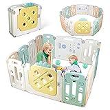 amzdeal Parque Infantil, Corralito para Bebé Plegable de Plástico Ecológico, 14 Paneles con Puerta y Tablero de Juguete, Interior/Exterior