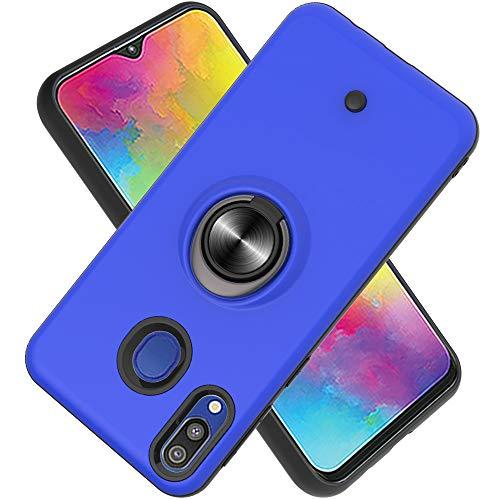 FAWUMAN Hülle für Samsung Galaxy M20 mit Standfunktion, Dekomprimierungsknopf, Rotationsgyroskop, PC + TPU Handyhülle Stossfest Case -Navy blau