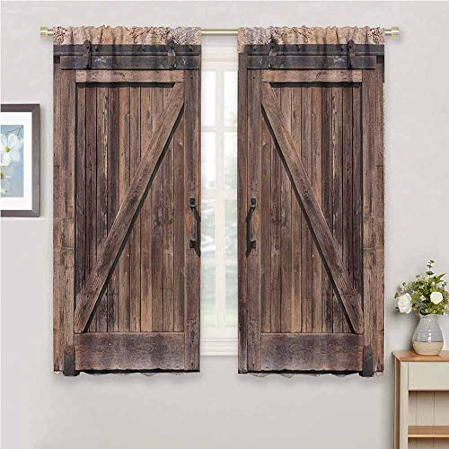 hengshu Rustic Blackout Shades Curtains Wooden Barn Door in Stone Farmhouse Image Vintage Desgin Rural Art Architecture Print for Window Curtains Valances W62 x L84 Inch Beige