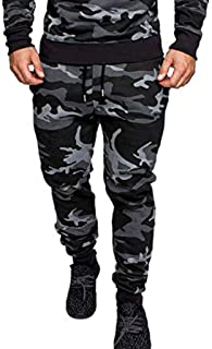 Stoota Jogger Cargo Pants for Men, Combat Drawstring Chino Trousers Stitching Feet Sports Pants with Multi Pockets Dark Gray