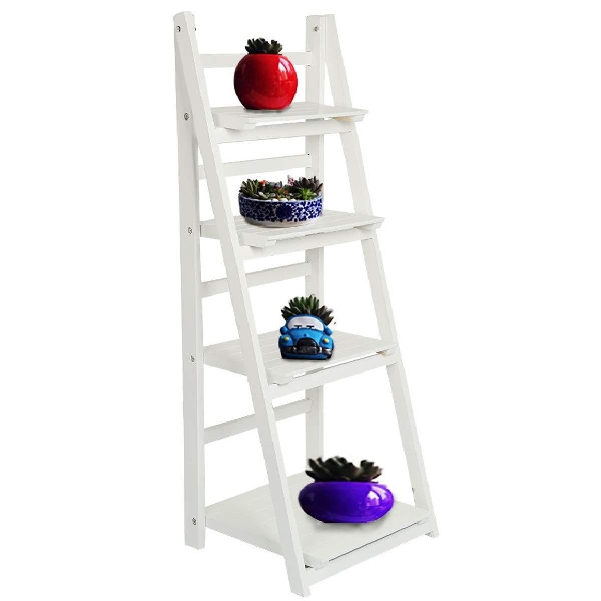 AllRight - Estantería de madera para libros tipo escalera de 3/4 niveles, estantería de almacenamiento para decoración del hogar, estantería de pie, madera, Blanco, 4 Tiers: Amazon.es: Hogar